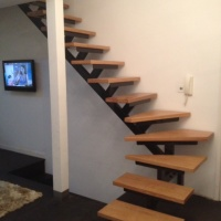 Oak Stairs on a Metal Staircase Bespoke