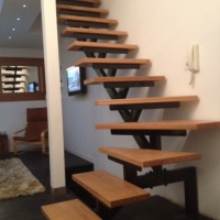 Oak Stairs on a Metal Staircase