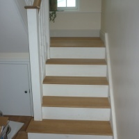Oak and Painted Staircase with bespoke square bottom tread